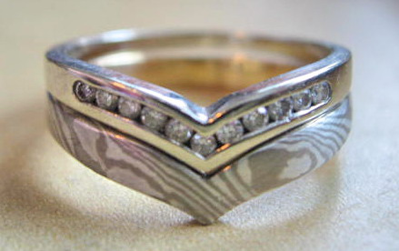 Mokume Gane Engagement And Wedding Ring